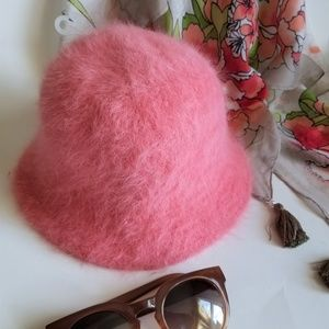 NWOT Pink Angora Wool Blend Winter Bucket Hat